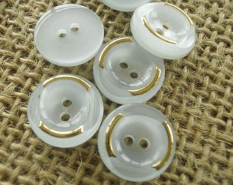 Set of 5 small round buttons two holes, light blue and gold tones, 12 mm diameter