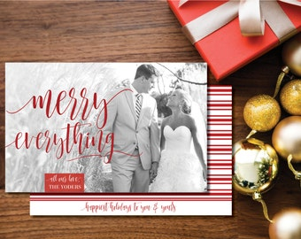 Merry Everything Printable Photo Christmas Card. Two-sided. Red and White. Holiday Card.