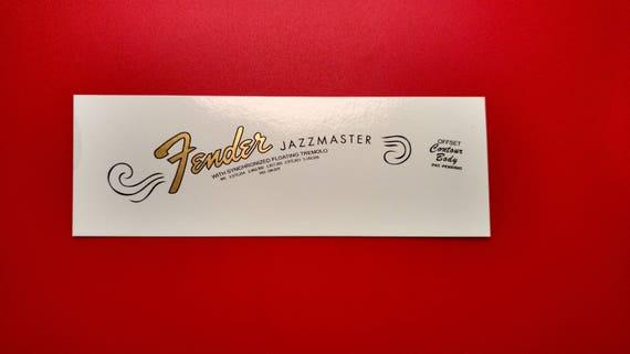 Fender Jazzmaster 65-68 Custom Waterslide Decal, Two with each order.