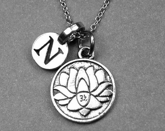 Lotus flower necklace, lotus charm, water lily necklace, personalized necklace, initial necklace, initial charm, monogram, initial letter