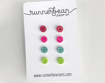 Stud earring set made from paper, earrings for girls, birthday gift, christmas gift, gift for her, quilled paper earrings