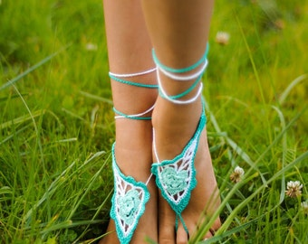 Mint Paisley Crochet Barefoot sandals Nude shoes, Foot jewelry, Victorian Lace, Sexy Yoga Anklet, Feet thongs, Bridesmaid accessories