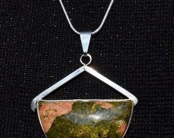 Unakite Pendant in silver setting