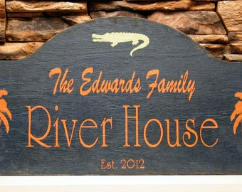 River House sign, Personalized sign, custom family sign,  hand painted sign, sign with palm trees, custom tropical sign, tropical river sign