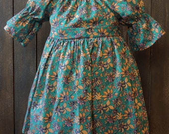 2T Teal Floral Peasant Dress