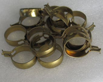 Pack of 14 Steel with Brass Finish Clip Curtain Rings 1""