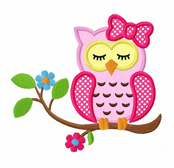 Instant download sleeping girl owl on branch applique machine for Embroidery office design version 9