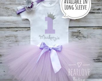 Princess 1st Birthday Girl Outfit | First Birthday Outfit | Princess Birthday Party | Purple Silver Birthday | Cake Smash Outfit | Baby Girl