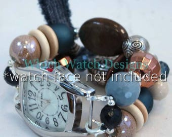 Faded Jeans.. Blue, Cream and Brown Chunky Interchangeable Beaded Watch Band