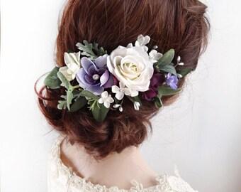 purple hair clip, white flower hair clip, floral hair comb, purple hair flower, floral hair clip, white rose hair clip, purple headpiece