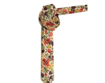 Retro honesty leaves and poppy flower print skinny tie