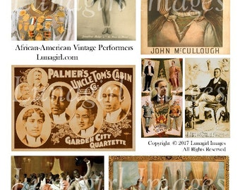 AFRICAN AMERICAN Vintage Images, digital collage sheet, theater posters, Dance, actress actor, Victorian men, altered art ephemera DOWNLOAD