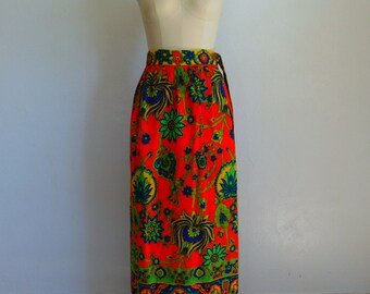 70s Red Paisley MAXI skirt size small/medium