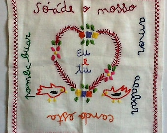 Portuguese Love Handkerchief on Hand Loomed Lined