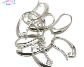 """10 """"curved"""", Silver Earring hooks"""