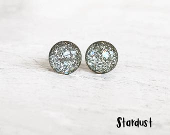 Silver glitter earrings, Silver earrings, Post earrings, Hypoallergenic earrings, Nickel free studs, Ear Sugar earrings, Glitter Studs