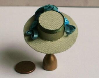 Elegant Lady's Hat, dark green, dollhouse miniature 1/12