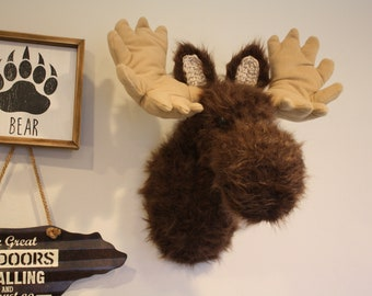 Faux Taxidermy Moose Wall Mount - Plush Moose Head Nursery Decor - Woodland Mountain Nursery - Moose Head - by JoJo's Bootique