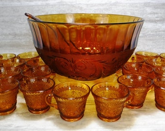 Amber Gold Punch Bowl Set/24 Punch Cups-Bowl-Ladle Sandwich Pattern/Indiana Glass Tiara 26 pc Punch Set/70's Vintage