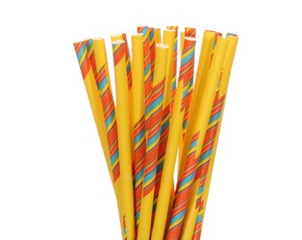 Paper Straws, Yellow with Blue and Orange Stripes Paper Straws, Summer Birthday Party Decor, Cake Pop Sticks, Vintage Picnic Paper Straws