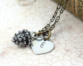 Silver Pine Cone Necklace, Initial Necklace, Pinecone Necklace, Silver Heart Necklace, Personalized Bridesmaid Jewelry