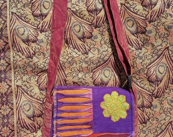 Peace Om Slash Patchwork Bag, Stonewash Colourful Design,  Hippy Boho Festival