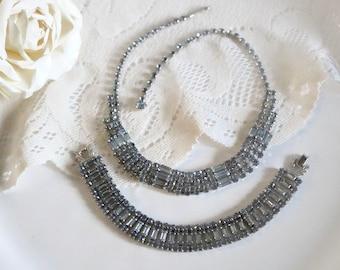 vintage soft lavender Demi parure Rhinestone Necklace and bracelet set, Signed Continental Square and emerald cut art deco style