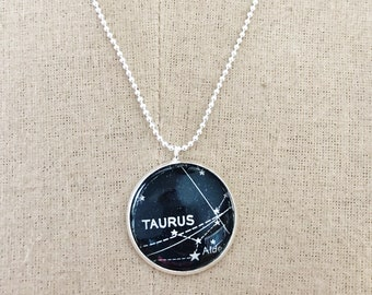 Taurus Astroligical Necklace, Constellation Star Sign Necklace, Vintage Dictionary Zodiac Pendant, Horoscope Jewelry,  Taurus Birthday Gift.