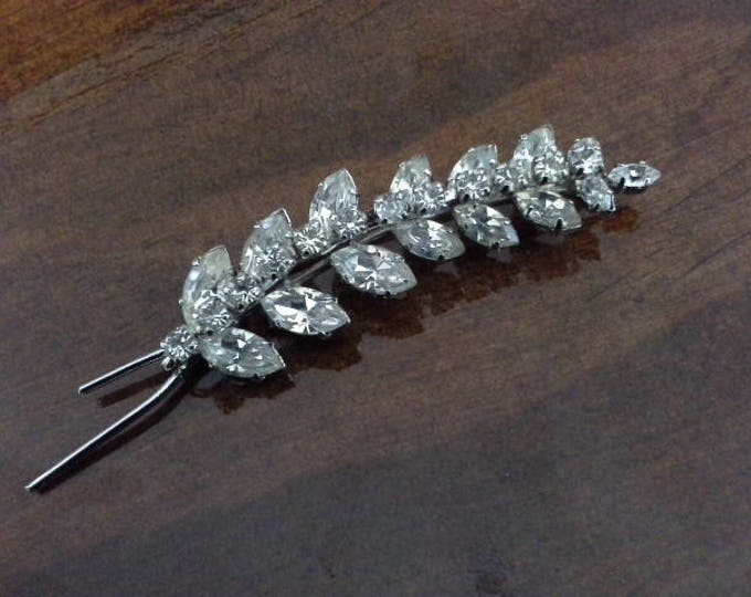 Vintage Faceted Diamante Crystal & Silver Tone Wheat Brooch