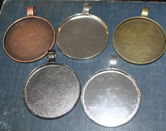 6 - Pendant Setting Frame Round approx. 2 inches Pendant 47.8mm ( 50mm outside)  Bezels Settings Lead and Nickel Free