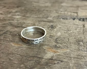Personalized Mom Rings Skinny Stacking Name Rings Womens Sterling Silver with custom Kid's Names