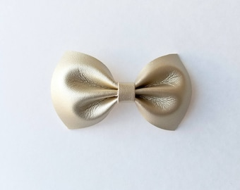 Gold Faux Leather Bow (Hair Clip)