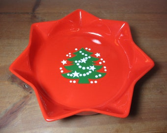 Waechtersbach Germany Red Star Bowl, Dish with Christmas Tree, Holiday, Serving