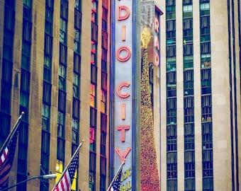 Fine art photography print of New York City/Radio City Music Hall, instant download wall art
