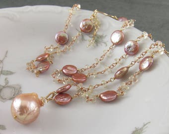 Oregon sunstone and peach pearl necklace, opera length gold filled gemstone necklace-OOAK June birthstone jewelry