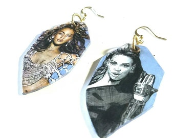 Beyonce Iconic hand-painted earrings - double sided - Crazy in Love