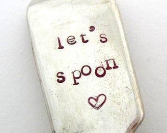 Handstamped Valentine Spoon, Let's Spoon, Vintage Dessertspoon, Red Hand Stamped Lettering