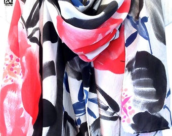 Hand Painted Silk Shawl, Christmas Gift, Silk Wrap, Black and Red Scarf, Japanese Red and Black Primrose Wrap, Silk Crepe, 44x72 inches.