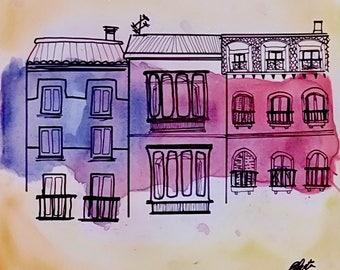Watercolor: Mermaid Street II
