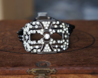 Antique Assemblage Bracelet with Antique French Silver and Rhinestone Buckle, Black Spinel and Art Deco Rhinestone Clasp