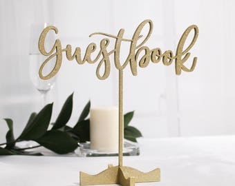 Gold Guestbook Sign Guest Book Sign Freestanding Table Numbers Calligraphy Table Numbers Wedding Table Numbers Glitter Gold Table Numbers