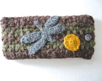 Eye glasses or sun glasses crochet case brown and green striped hand crocheted with gray dragonfly handmade appliqué fully lined