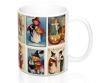 Vintage Halloween Witch Postcards Graphic Coffee Mug 11 or 15 oz (#4)