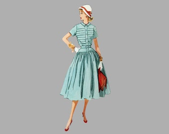 1950s One-Piece Dress Pattern Simplicity 4210, Bust 30 inches, Complete, UNCUT Short sleeves or sleeveless, Drop waist bodice, Small collar