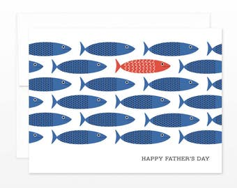 Red Blue Fish Card Father's Day Card, Mid Century Modern Dad Card, Fishing Father's Day Card