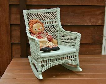 Wicker Child's Rocking Chair, Vintage Wicker Child's Chair, Green Wicker Rocker, Doll Seat,