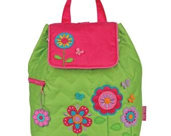 Toddler Stephen Joseph Quilted Backpack, Children's Backpack, Monogram, Personalized Flower Backpack, Kids Backpack, Preschool Backpack