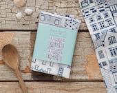 Seaside Cottages Tea Towel - Building Illustrations - Patterned Tea Towel - Teatowel - Printed Fabric - Souvenir - surface pattern design