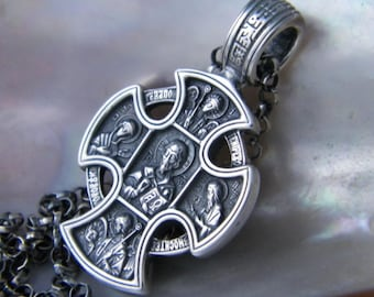 """Hand Made 925 Oxidized Sterling Silver two-faces reliquary cross with Oxidized 22""""Sterling Silver Chain"""