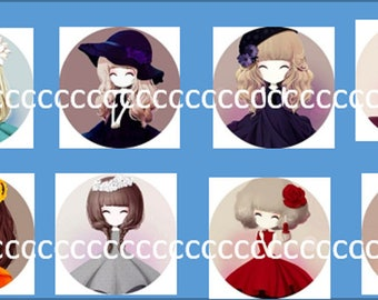 8 cabochons Glas 25 mm girl theme